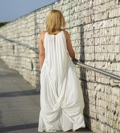 Plus Size Dress White Gown Dress Loose Dress Summer by VisibleArt
