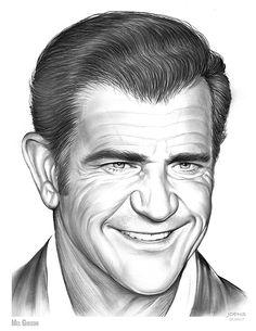 Drawing - Mel Gibson by Greg Joens Celebrity Caricatures, Celebrity Drawings, Mel Gibson, Pencil Portrait, Portrait Art, Tree Drawings Pencil, Pencil Art, Face Photo, Cool Artwork