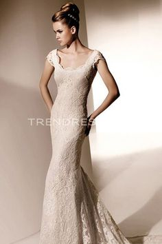 Gorgeous Sheath Lace Wedding Dresses with Capped Sleeves, Petite Wedding Dresses - Trendress.com