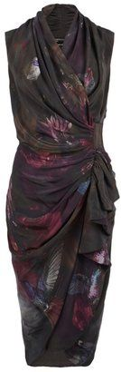 Poison Dress by AllSaints Spitalfields. Asian influenced silhouette with a flattering gather and drape. Sexy Dresses, Fashion Dresses, Dresses For Work, Wrap Dresses, Dream Dress, Dress Up, Silk Dress, Kimono Dress, Draped Dress