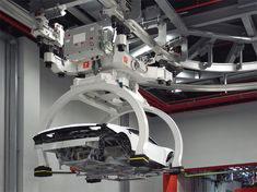 Assembly line at Ferrari factory (Maranello campus) : body being moved along the track - photo Designboom