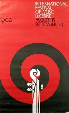 Lucerne Festival of Music, 1962 - original vintage poster listed on AntikBar.co.uk
