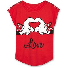 Disney Minnie Mouse Hands Love Graphic Top Girls 6-16