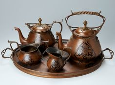 Art Nouveau coffee and tea service, c. 1900, Art Nouveau thistle design, copper, manufactured by Carl Deffner, Esslingen, Germany