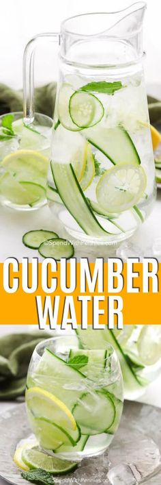 Cucumber water is full of health benefits and delicious flavors. Infused with cucumbers, lemons, limes, and mint this fun recipe is always a hit at parties and is perfect in my water bottle while prepping for the party! Homemade Strawberry Lemonade, Watermelon Lemonade, Creamy Cucumber Salad, Creamy Cucumbers, Infused Water Recipes, Fruit Infused Water, Cucumber Water Benefits, Alcoholic Punch Recipes, Spend With Pennies