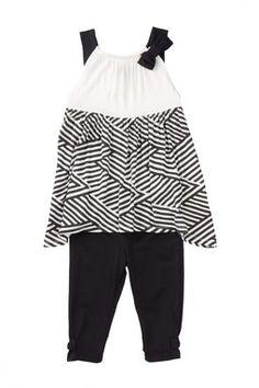 Striped Skirt Dress & Legging 2-Piece Set (Toddler Girls)