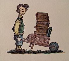 typesticker Wood Engraving / Philip Reed  Possibly engraved for self-advertising, this pint-sized porter precariously propels his teetering tiny tomes in a casually contrived conveyance.