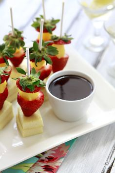 Party Frosting: Party Appetizers - Add a toothpick!  Strawberry/pineapple/cheese pops with chocolate dipping sauce