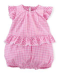 Gingham Bubble Shortall, Pink/White, Size 3-18 Months by Ralph Lauren Childrenswear at Bergdorf Goodman.