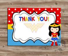 Pre-made, BLANK Wonder Woman Thank-You Card, Coordinates w/ the WonderWoman Birthday Invitation - Digital Printable 2 per page, 5x7 JPG File