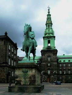 """Christiansborg Palace (Christiansborg Slot), Copenhagen, Denmark  Christiansborg Palace has a more than 800 year-long history as the state's centre of power, and today the palace includes several institutions of central importance. """"The Folketing"""" (The parliament) has at its disposal most of the rooms in the palace, but the Prime Minister, the High Court, and the Royal Reception Rooms are also located here"""