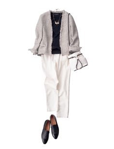 Soft grey sweater with white pants / black
