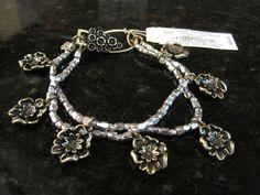 Lucky Brand~Antiqued Gold Tone~Silver Bead~Flower Charm~Alligator Clasp~Bracelet #LuckyBrand #Beaded