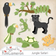 Jungle Safari African Zoo Animals - Layered PSD Templates with PNG by Kim Cameron for Digital Scrapbooking #CUDigitals