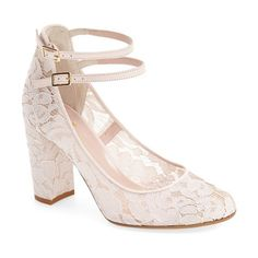 baneera ankle strap pump by Kate Spade New York. A lacy finish refreshes a lofty block-heel sandal with an irresistibly romantic element, while sl...