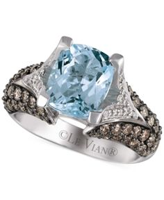 Le Vian Aquamarine (2-1/2 ct. t.w.) and Diamond (1-1/5 ct. tw.) Ring in 14k White Gold