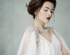 Anastasia - Couture Crystal Cape Soft Tulle Train