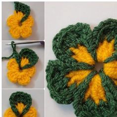 How To Crochet Folded Petals Flower - curlingiron Crochet Flower Tutorial, Crochet Diy, Crochet Flower Patterns, Love Crochet, Crochet Gifts, Crochet Designs, Crochet Flowers, Knitting Patterns, Crochet Poppy