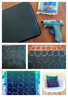 This hot glue stencil is super quick and easy to make! Diy And Crafts, Crafts For Kids, Arts And Crafts, Homemade Stencils, Glue Gun Crafts, Tips & Tricks, Tampons, Art Plastique, Diy Art