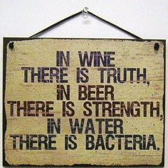 Egbert's Treasures Vintage Style Sign Saying, in Wine There is Truth, in Beer There is Strength, in Water There is Bacteria. Decorative Fun Universal Household Signs for Your Home Wine Signs, Pub Signs, Beer Signs, Bar Quotes, Wine Quotes, Funny Quotes, Funny Bar Signs, Faux Walls, In Vino Veritas