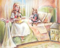 """Wall art for nursery #Kitten kitty, sisters, girls 'Playing with Dolls... and Kitty"""" #childhood illustration by Laurie Shanholtzer #Canvas or art paper print"""