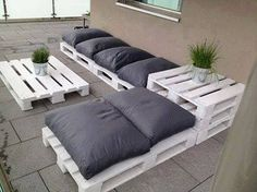This seems easy for you to make, then add a few coats of paint. The grey pillows add a nice contrast. Those would be relatively easy to make if you gave me dimensions.