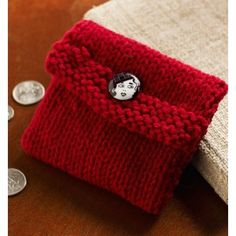 Free Pattern. Login required. Gift pouch. Knit Change Purse in Red Heart Super Saver Economy Solids - LW3546 | Knitting Patterns | LoveKnitting