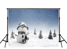 10X6.5ft Snowman Backddrops Photography White Snow Ground...