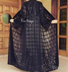 Kani shop by Kaniabaya Abaya Fashion, Muslim Fashion, Fashion Dresses, Mode Kimono, Hijab Evening Dress, Hijab Style, Abaya Style, Black Abaya, Mode Abaya