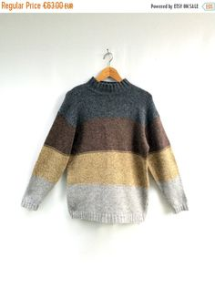528783811ee3f Items similar to Vintage womens pullover womens wool sweater SHETLAND WOOL pullover  KNITWEAR Handmade Fine knit striped pullover Winter sweater Womenswear ...