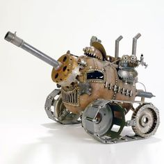GNOME BE GONES :: Tanks :: Three Man Tank - Sugar Post is the home of Fred Conlon's distinctive and engaging metal art