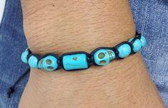 Pulseira masculina mens bracelets skull caveira