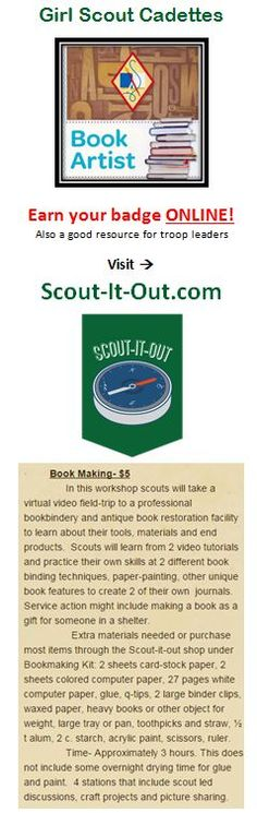 Girl Scout Cadette Book Artist badge earned ONLINE through a virtual leader at Scout-It-Out.com