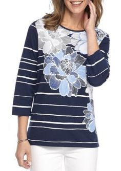 Alfred Dunner  Uptown Girl Floral and Stripe Knit Top