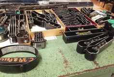 Tools of the trade, for cutting buckles and flaps. #IlBisonte #backstage