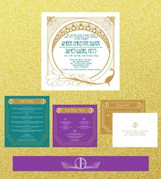 Art Nouveau Themed Wedding Stationery Collection by The Print Cafe in Fort Collins, Colorado. The invitation and all of the inserts go into a pocket fold card and are placed in an outer envelope for a sophisticated touch. #wedding #invitation #nouveau #artnouveau #peacock #gold #purple #teal #elegant #deco #gatsby #greatgatsby #roaring20s  #bridal #invitations #collection #custom #designs #pocket #pocketfold #foldedpocket #theprintcafe #fortcollins
