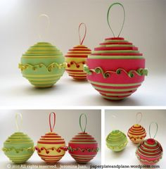 DIY Christmas Orname DIY Christmas Ornaments Ideas Elegant Easy Ornaments and Crafts. Looking for the best ideas of DIY Christmas ornaments? You'll find here some great examples of easy and elegant DIY Christmas ornaments! Paper Christmas Ornaments, Quilling Christmas, Christmas Balls, Christmas Decorations, Ball Ornaments, Ornaments Ideas, Origami Christmas, Paper Decorations, Christmas Tree