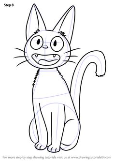 Learn How to Draw Jiji from Kiki's Delivery Service (Kiki's Delivery Service) Step by Step : Drawing Tutorials