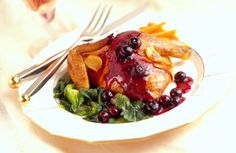 Cornish Hen Recipe   Roasted Cornish Hen Sautéed Blueberries  Claire's note: perfect lower carb alternative to cranberries! Just figure out what to sub for the sweeteners, etc. Christmas dinner solved!
