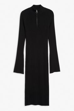 Monki Image 1 of Ribbed sweater dress in Black