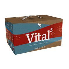 Vital 5 Forever Living Products è orgogliosa di presentare  Vital 5 - la soluzione per una sana alimentazione in una semplice confezione  VITAL 5 contiene: 4 ALOE VERA GEL 1 FOREVER DAILY 1 ACTIVE PROBIOTIC 1 ARCTIC SEA 1 ARGI+ 1 ARGI+ SCOOP LETTERATURA VITAL 5