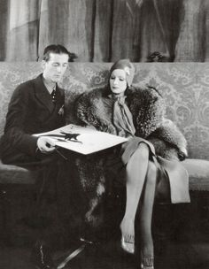 Adrian & Greta Garbo, 1930. Love Garbo's outfit here!