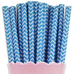 Blue Chevron Paper Straws | www.LayerCakeShop.com