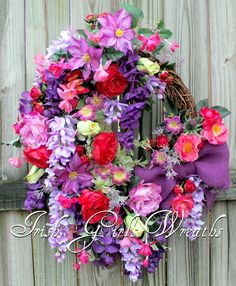 French Country Orchid Purple and Fuchsia English Cottage Garden Spring Floral Wr… Summer Wreath, Spring Wreaths, Purple Wisteria, Purple Wreath, Rose Cottage, Garden Cottage, Planting Flowers, Fruit Flowers, Flowering Plants