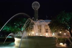 union station fountain - dallas, texas reunion tower in the background www.fountainsdallas.com