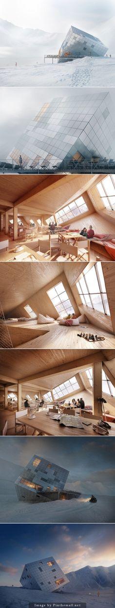 Stunning Cube Hut Project  Comme une météorite tombée du ciel, cette incroyable cabane cubique au design épuré est un projet réalisé par l'Atelier 8000. Imaginée au milieu des montagnes slovaques, cette maison nommée « Kezmarska Hut » serait un lieu écologique et durable idéal pour des aventuriers tout terrain..