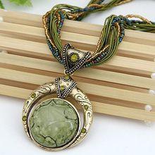 New bohemian collana dei monili di modo popolare retro stile della boemia perline multistrato catena di cristallo della gemma grano pendente della collana n001(China (Mainland))