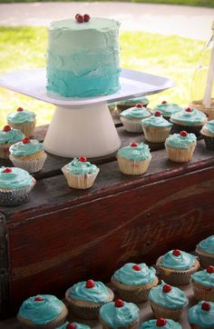red wagon first birthday- aqua smash cake- coke crate- cupcakes