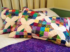 Quilted Pillow Sham in Batik Crossroad Pattern, Two Colorful Standard Pillow Shams, Batik Pillow Cover by DarBieStitches on Etsy