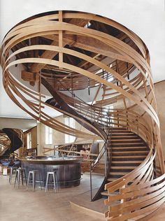 This amazing wooden staircase made by designer Patrick Jouin and architect Sanjit Manku